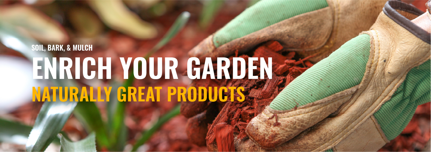 Rockland soil, bark, and mulch products banner.