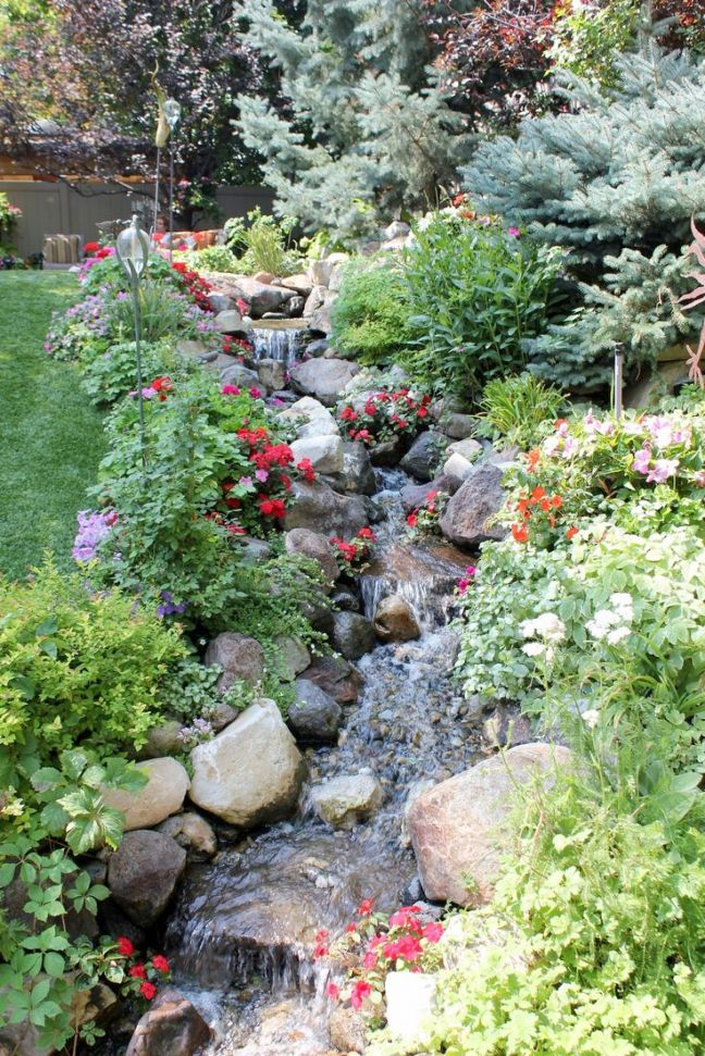stream backyard landscaping edmonton